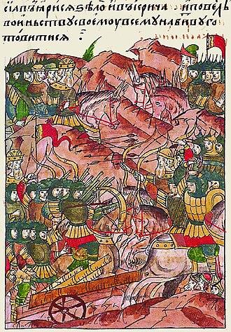 Battle of the Vorskla River - Image: Facial Chronicle b.11, p.421 Battle at Vorskla