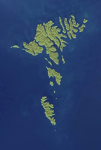 Outline of the Faroe Islands - An enlargeable satellite image of the Faroe Islands