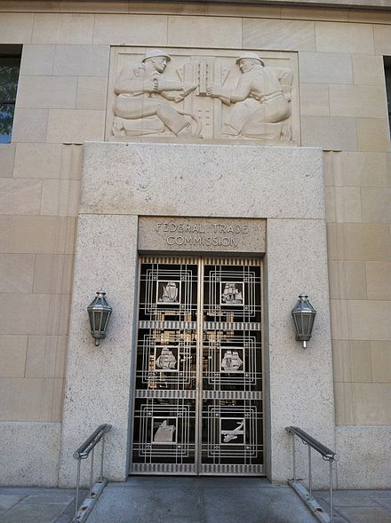 Federal Trade Commission entrance doorway in Washington, DC Federal Trade Commission Entrance Doorway.jpg