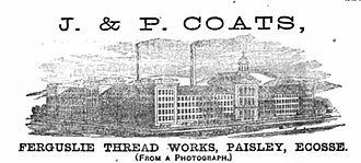 Paisley, Renfrewshire - Advertisement for the Ferguslie Thread Works in the 1867 Paris World Fair catalogue