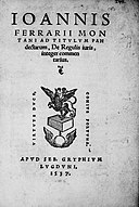 Ferrarius, Ioannes Montanus – Ad titulum Pandectarum De regulis iuris commentarius, 1537 – BEIC 13669300.jpg