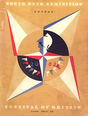 Abram Games - The Festival of Britain emblem – the Festival Star – designed by Abram Games, from the cover of the South Bank Exhibition Guide, 1951
