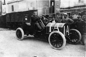 Targa Florio - Vincenzo Lancia driving a Fiat 50 hp in 1908 Targa Florio, finished 2nd.