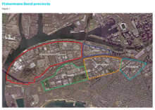 Map showing the new precincts in Fishermans Bend