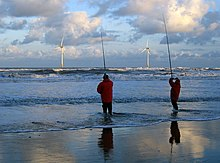 Fishermen and wind turbines from Blyth North Beach - geograph.org.uk - 1133638.jpg