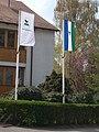 Flagpoles at Visegrad Forestry HQ, 2018 Visegrád.jpg