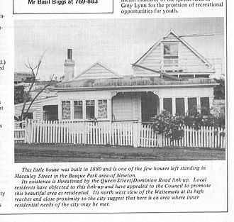 Basque Park - A cottage whose last owner was an elderly Italian immigrant and has been pulled down. It was on Macauley Street. At one time Herman Gladwin, artist and painter squatted there. Flash, Grey Lynn, Westmere Community Newsletter.. Issue 9, 1978, p2.
