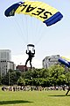 Flickr - Official U.S. Navy Imagery - A member of the U.S. Navy Parachute Demonstration Team, the Leap Frogs, lands in Boston Common during Boston Navy Week..jpg