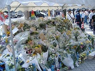 Akihabara massacre - Makeshift memorial set up at Akihabara for mourning