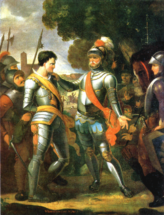Focko Ukena - Following his capture in the Battle of the Wild Fields Ocko tom Brok is brought before Focko Ukena. Romanticised history painting by Tjarko Meyer Cramer, 1803