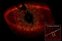 Description de l'image  Fomalhaut with Disk Ring and extrasolar planet b.jpg.