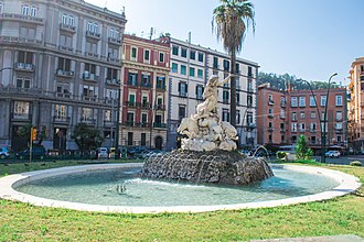 History of Naples - The Fontana della Sirena by Onofrio Buccino, 1869, perpetuates the image of Parthenope as patroness