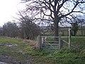 Footpath and bridleway meet a lane near Tugford - geograph.org.uk - 1074386.jpg