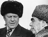 Gerald Ford and Leonid Brezhnev meeting in Vladivostok, November, 1974.