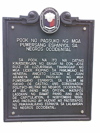 Negros Revolution - Historical marker commemorating the surrender of Spanish forces in Bacolod in 1898. Installed at the Fountain of Justice in 2007.