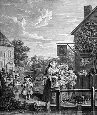 "The Old Red Lion, Islington - ""Evening"" by Hogarth"