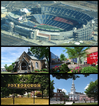 Foxborough, Massachusetts - Gillette Stadium, Memorial Hall, Patriot Place, sign in Foxborough, Congregational Church and the Orpheum Theatre