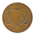 Framsida av medalj med bild av vågskålar med skrift emellan - Skoklosters slott - 99343.tif