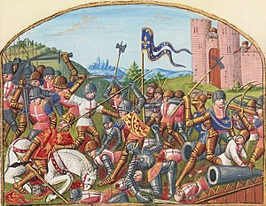 Battle of Castillon - The death of John Talbot, Earl of Shrewsbury at the battle of Castillon from Vigilles de Charles VII by Martial d'Auvergne