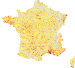 France - Density of Monuments historiques by commune, with departments.svg