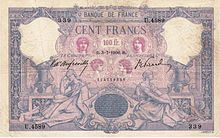 100 francs bleu et rose, Face recto