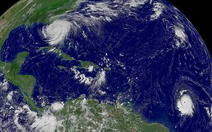 2004 Atlantic hurricane season - Hurricanes Frances (top left) and Ivan (bottom right) on September 5