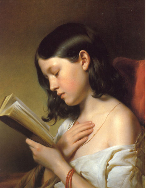 'Girl Reading': painting by Franz Eybl, 1850 (from Wikimedia Commons)