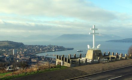 Free French Memorial on Lyle Hill overlooking Gourock Free French Memorial Greenock.jpg