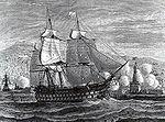 La Provence devant Alger  , le 3 août 1829. Le bombardement du navire royal par les Ottomans est le   casus belli   de la prise d Alger.