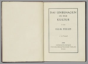 Narcissism of small differences - The title page of Civilization and Its Discontents, in which Freud first put forward his theory.