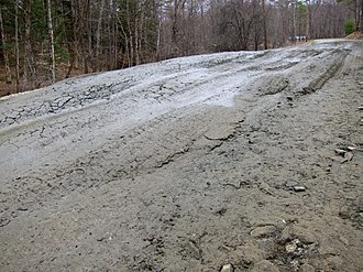 Frost heaving - Frost heaves on a rural Vermont road during spring thaw