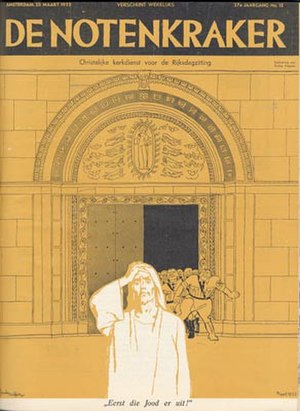 """De Notenkraker - Cover by Albert Funke Küpper, March 25, 1933. Christian church service before Parliament session - first, out with the Jew""""!."""