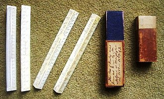 Scale ruler - Boxed set of 1850s ivory engineer's scales presented to the railway civil engineer George Turnbull in India. 16 scales are engraved.