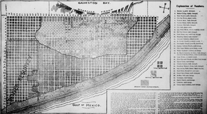 A map illustrating the devastation in Galveston. There is a dark shaded arch-area, demarcating total destruction in that region of the city