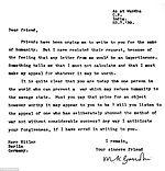 Lettre de Gandhi à Hitler, dans laquelle il le conjure de ne pas déclencher la guerre et d'atteindre ses objectifs par la non-violence, 23 juillet 1939.