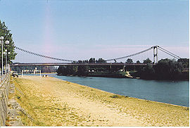 Eiffel's suspension bridge over the Garonne River in La Réole