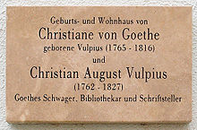 Gedenktafel am Haus Luthergasse 5 in Weimar (Quelle: Wikimedia)