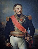 Painting of a man with a brown mustache and brown hair that is graying at the temples. He holds a telescope in his right hand. He wears a dark blue military uniform with gold epaulettes and lace and a red sash across his chest.