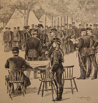 Allotment system - Swedish croft soldiers at a general muster, drawing by Gustaf Cederström, 1887.