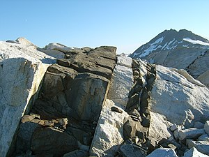 Intrusive rock - A dike intrudes into the country rock, Baranof Island, Alaska, United States