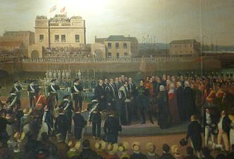Visit of King George IV to Scotland - Detail from a painting by Alexander Carse showing the King landing at Leith.