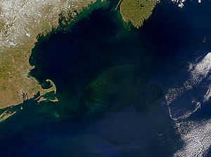 Georges Bank - NASA visible satellite view of Georges Bank (center). Cape Cod is on the left, and southern Nova Scotia can be seen in the upper right.
