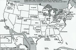 Internment of German Americans - Locations of internment camps for German enemy aliens during World War II.