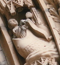 """Depiction of Jonah and the """"great fish"""" on the south doorway of the Gothic-era Dom St. Peter in Worms, Germany"""