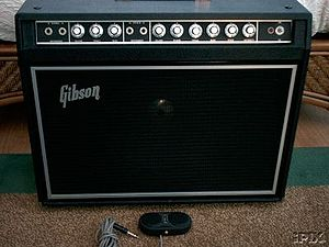 "Instrument amplifier - A small Gibson ""combo"" amplifier."