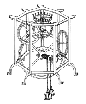 Giovanni Dondi dell'Orologio - The Astrarium: tracing of an illustration in the Tractatus astrarii showing the weights, escapement, and main gear train but not the complex upper section with its many wheels