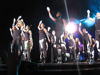 "The final performance of the show, ""Give It 2 Me"", with Madonna and her dancers jumping along to the song Give it 2 me.jpg"