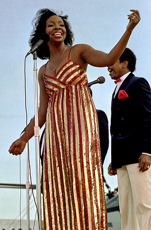Gladys Knight - Knight and the Pips perform aboard the aircraft carrier USS Ranger on November 1, 1981.