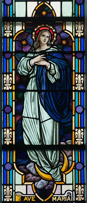 Mary, mother of Jesus - Mary depicted in stained glass at St. James' Church in Glenbeigh, Ireland