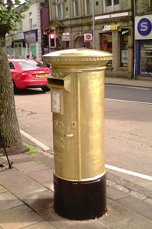 Danielle Brown - The gold post box painted in honour of Brown's 2012 Summer Paralympic gold medal